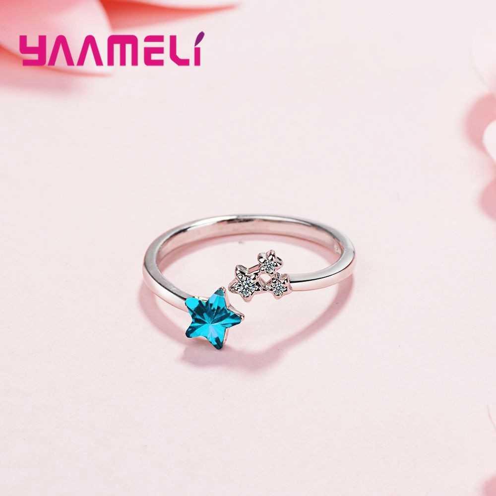 Новые модные кольца в Корейском стиле из стерлингового серебра 925 пробы с прозрачными голубыми звездами и кристаллами, открытые кольца
