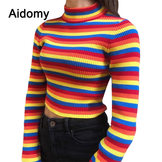 32ab8cb605 Turtleneck Rainbow Sweater Women Pullover Knitted Crop Tops Autumn Jumper  Slim Striped Shirt Long Sleeve Ribbed Sweaters Female
