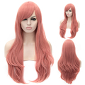 65CM Beautiful Women's Long Curly Synthetic Hair Pink Cosplay Wig Heat Resistant Halloween Costume party Wigs Free Shipping