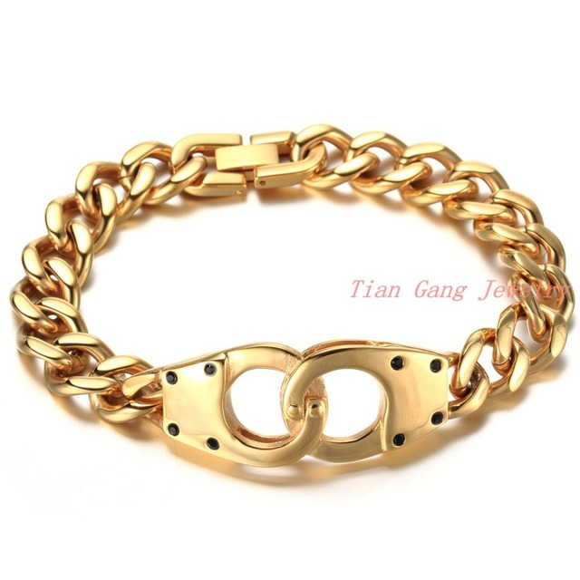 Men Handcuffs Bracelet Gold Stainless Steel Link Chain Bracelets Jewelry Secret Shades Mens Handcuff