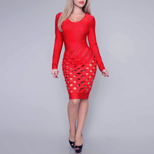 INDRESSME Sexy Deep V Hollow Out Full Sleeve Knee Length Solid Bodycon Spring Bandage Dress Vestidos Clearance