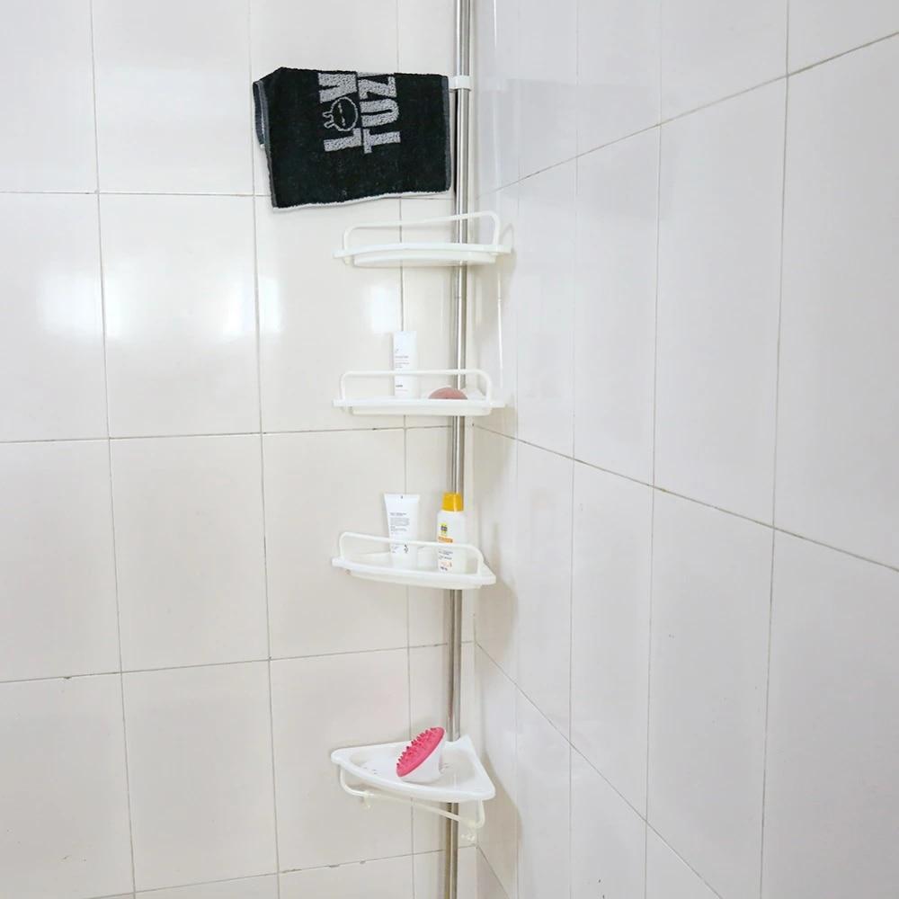 Stainless Steel 1 Tier Corner Shower Bathroom Shelf Organiser Caddy Rack