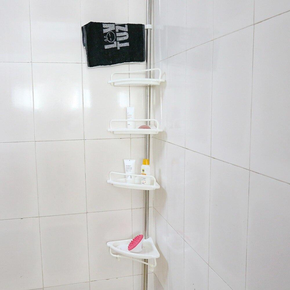 1 pieces en acier inoxydable 4 niveaux telescopique salle de bain coin etagere support douche caddy stockage salle de bain etageres accessoire de bain