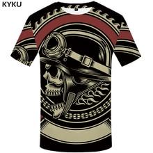 KYKU Military T-shirt Men Black Skull T Shirt Hip Hop Tee Casual Gothic 3d Printed Tshirt Punk Rock Mens Clothing Streetwear Top стоимость