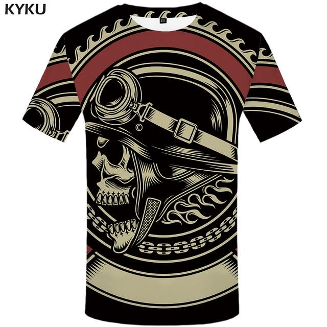 KYKU צבאי חולצה גברים שחור גולגולת T חולצה היפ הופ טי מזדמן גותי 3d מודפס חולצת טי פאנק רוק Mens בגדים streetwear למעלה