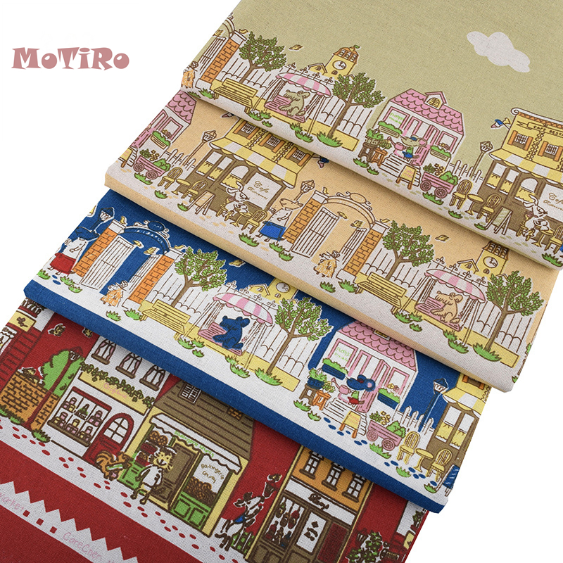 Lovely Motiro,half Meter,printed Cotton Linen Fabric,little House Handmade Cloth For Diy/sewing/sofa/bag/cushion Material/furniture A Great Variety Of Goods Fabric Apparel Sewing & Fabric
