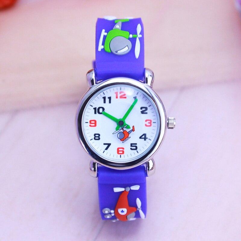 Summer Children Boys Quartz Silicone Watches Fashion Sports 3D Cartoon Plan Younger Students Birthday Gifts Waterproof Clock