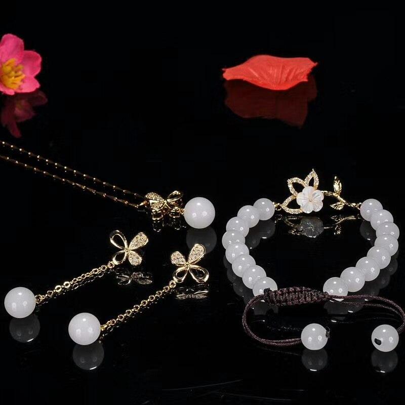 925 argent incrusté calcédoine naturelle calcédoine pendentif collier Bracelet boucle d'oreille ensemble cadeaux