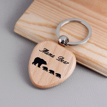 Wooden Keychains Keyrings mama bear Fathers Gifts Key Chains Gifts For Her Birthday Gift Mothers Day Gifts Presents Pendants