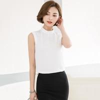 Korea Ol Style Women Blouse Tank Tops 2018 Summer Elegant Chiffon Womens Shirt Sleeveless Office Work Solid White Woman Clothing