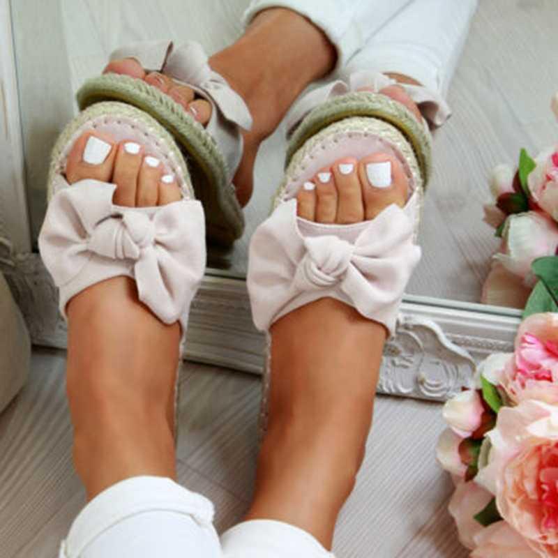 Frauen Sandalen 2019 Torridity Frau Nette Bogen Hausschuhe Hanf Offene spitze Casual Schuhe Damen Outdoor Strand-Flops Weibliche