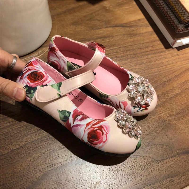 Niñas princesa zapatos 2019 nueva moda de verano niños rosa y azul flor princesa zapatos planos de chica UE 26-35