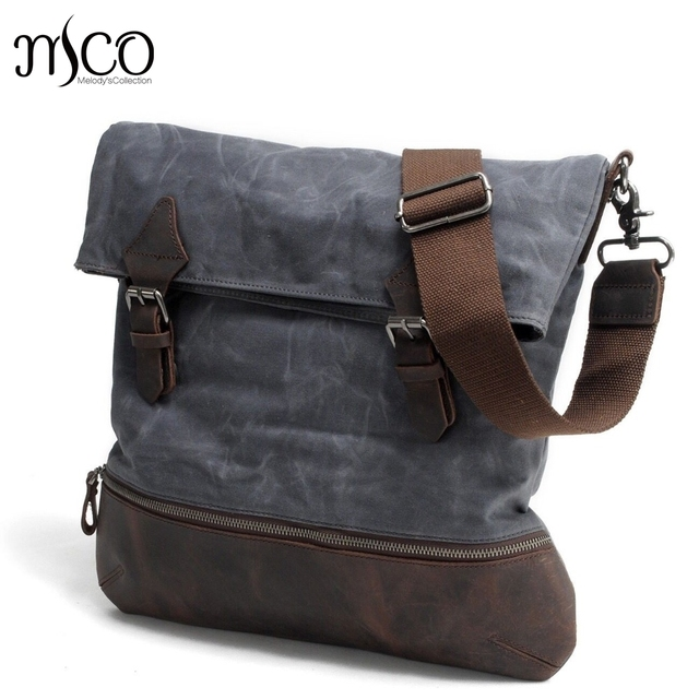 c73dbf760556 British Style Waterproof Male Bag Oil Wax Canvas Men Messenger Bags Vintage  Shoulder Bag Crazy Horse Leather Travel School Bags