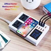 8 портов QI Беспроводное быстрое зарядное устройство Быстрая зарядка станция светодиодный дисплей Мобильный телефон настенный usb зарядное у...