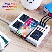 QI Беспроводное быстрое зарядное устройство, 8 портов, быстрая зарядная станция, светодиодный дисплей, мобильный телефон, настенное usb зарядное устройство для iphone 6 7 8 7plus X xiaomi