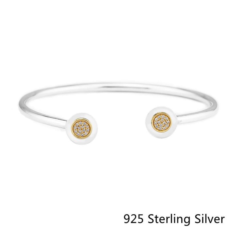 Authentic 925 Sterling Silver Signature Bangle Bracelet Charm Fits for Women Jewelry Bracelet Clear CZ pulseras mujerAuthentic 925 Sterling Silver Signature Bangle Bracelet Charm Fits for Women Jewelry Bracelet Clear CZ pulseras mujer