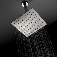 Shower top spray stainless steel brushed 8 inch square ultra thin top spray factory direct HIHSPJ017 2