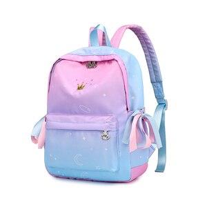 Image 2 - 2018 СКИОНЕ Цвет градиента    Школьные водонепроницаемые  многофунгционнальнные  рюкзаки для подростков  девочек  путешествий