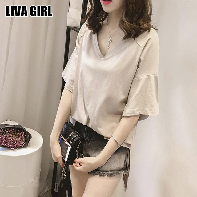 Liva Girl Elegant Fashion Ladies New Stylish Pure Color V-Neck Shirts Loose  T Shirt Plus Size Top Tees Casual For Female Shirts 9510a4aca7a7