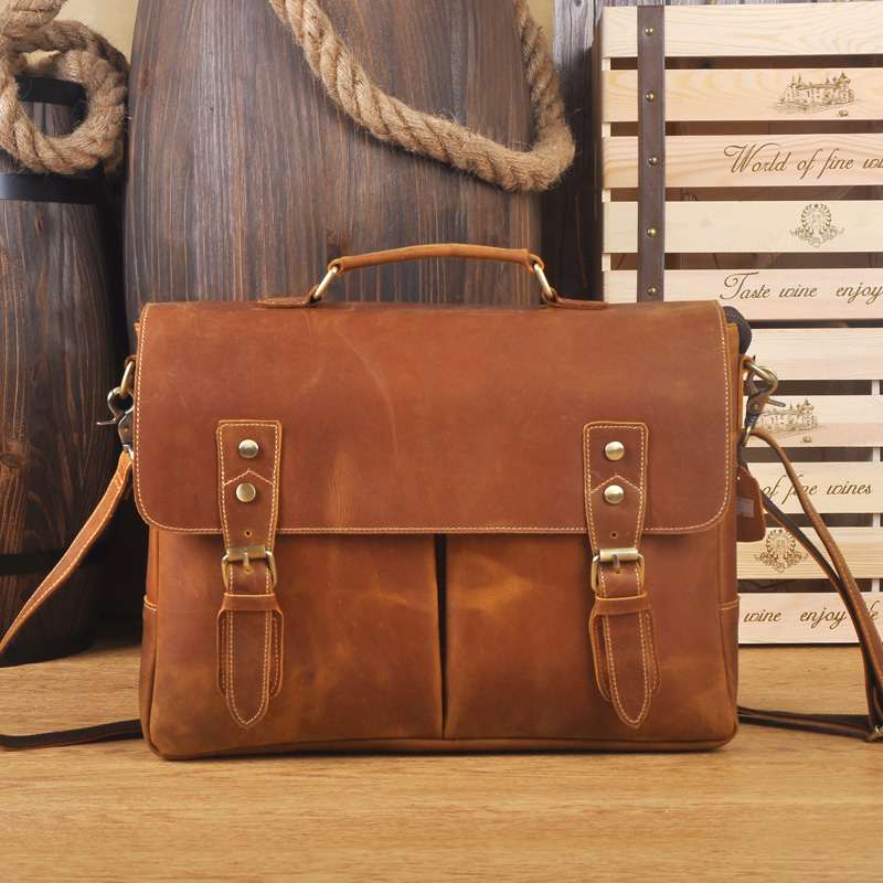 Crazy Horse Genuine Leather Briefcases 14