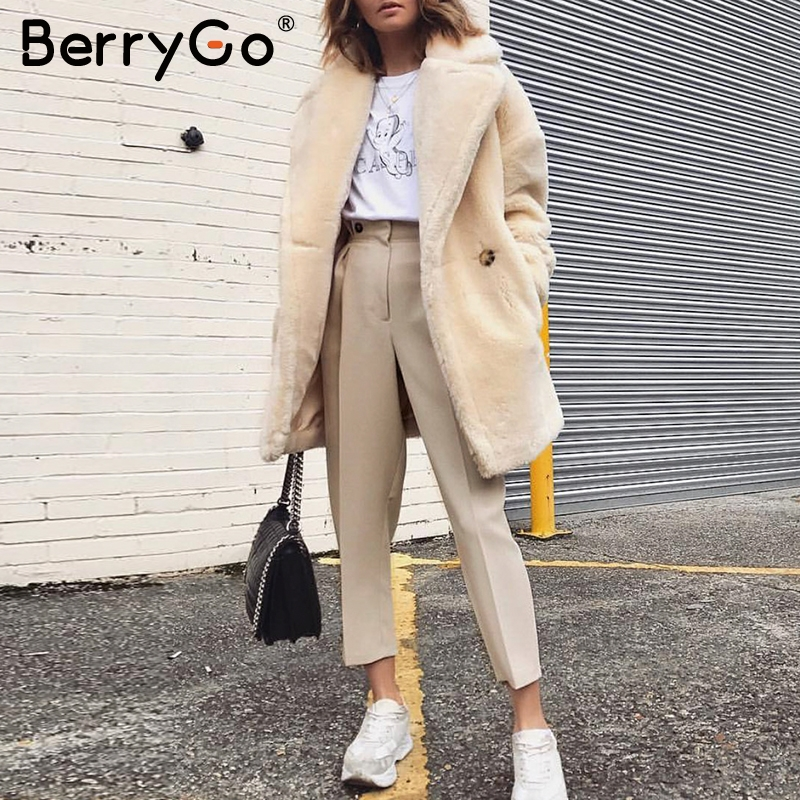BerryGo Casual Harem Pants Female Trousers High Waist Buttons Office Ladies Blazer Suit Pants Loose Ankle-length Womens Pants