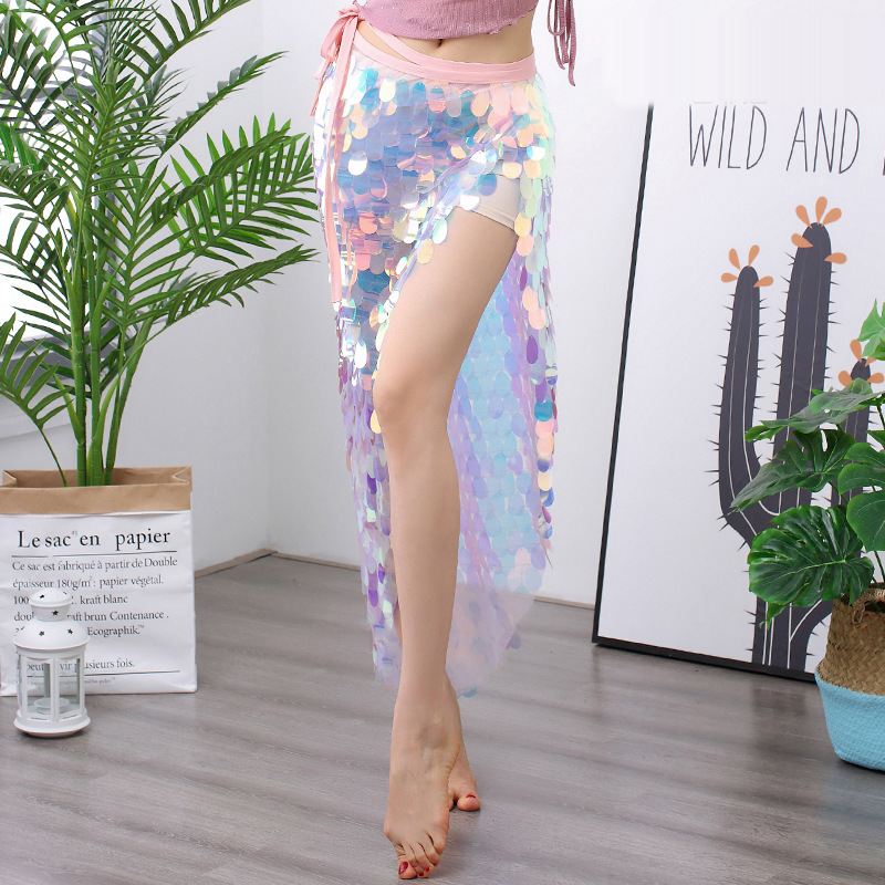 Belly Dance Costume Fashion Hip Scarf 2019 New Sequined Waistband Long Skirt Female Practice Clothes Sexy Costumes
