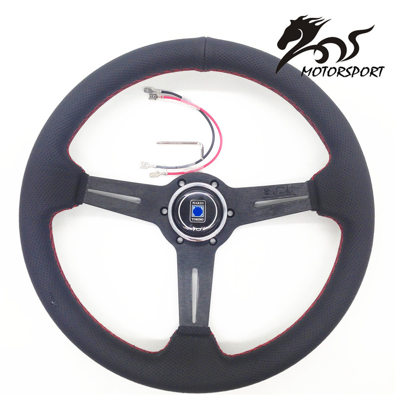 Steering Wheel /Leather Steering Wheel flat style Corn Racing 350mm Black Perf Leather with Red stitch