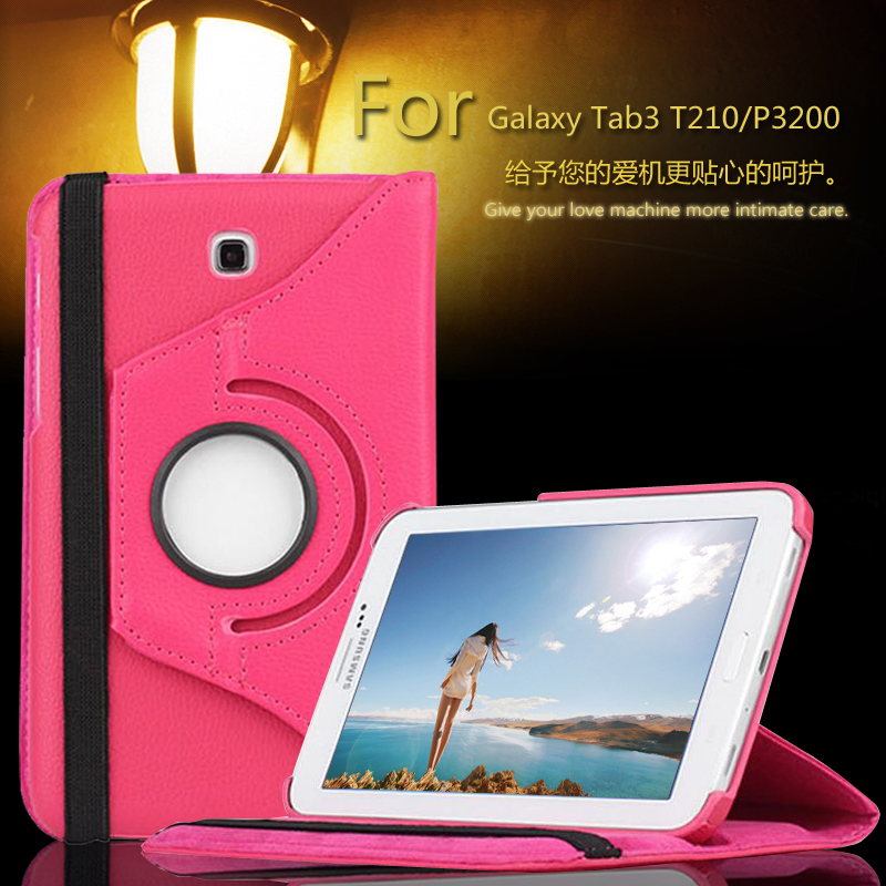 Luxury 360 Rotating PU Leather 2Folds Cover Case for Samsung Galaxy Tab 3 7.0 T210 T211 P3200 P3210 7 inch Stand Skin Tablet PC pu leather stand cover case universal 7 0 inch tablet for samsung galaxy tab 2 tab3 t110 t111 t230 t210 for kids gift kf469d