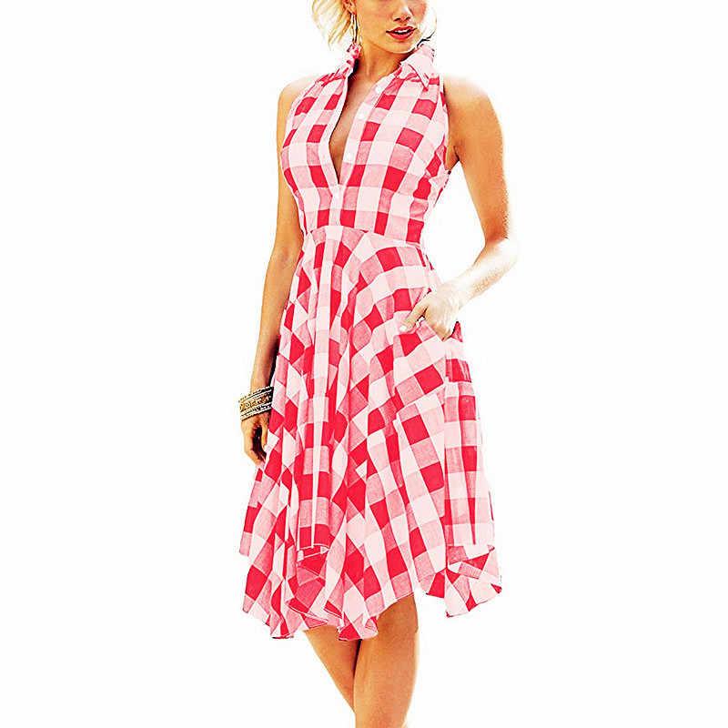 Женские платья 2019, летнее платье-рубашка в клетку без рукавов, платье с неровным подолом, облегающее женское платье, женские пляжные платья с боковыми карманами