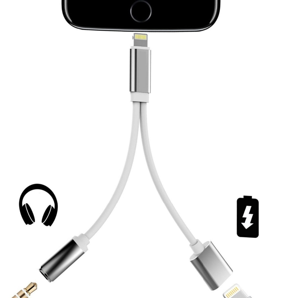 Headphones Adapter For IPhone X XS XR 7 8 Charger 3.5mm Aux Jack Headphone Earphones Audio Splitter White Cable Charging Music