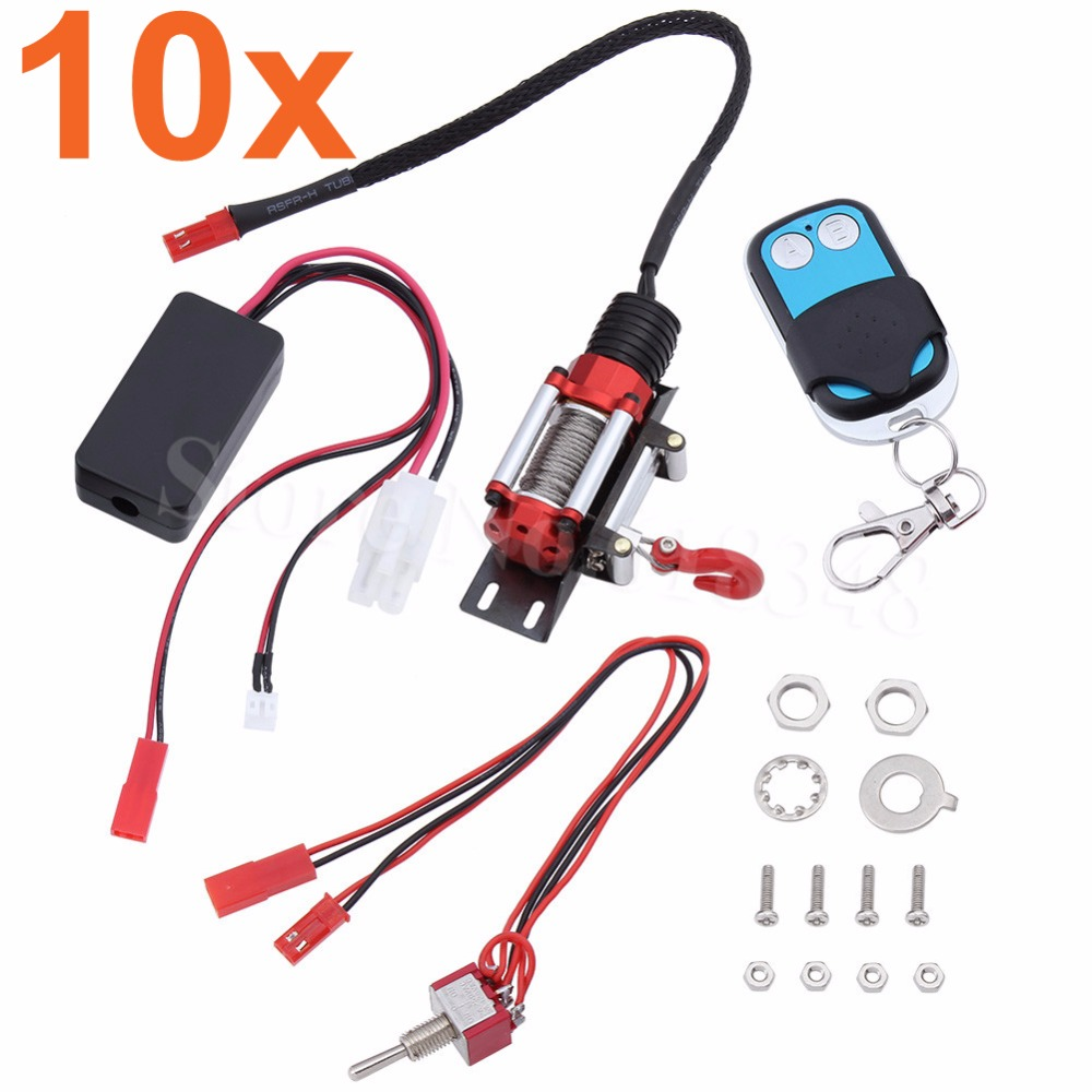 10x CNC RC Rock Crawler Automatic Winch + Wireless Remote Control & Receiver Set for 1:10 Axial SCX10 RC4WD D90 Climbing Car