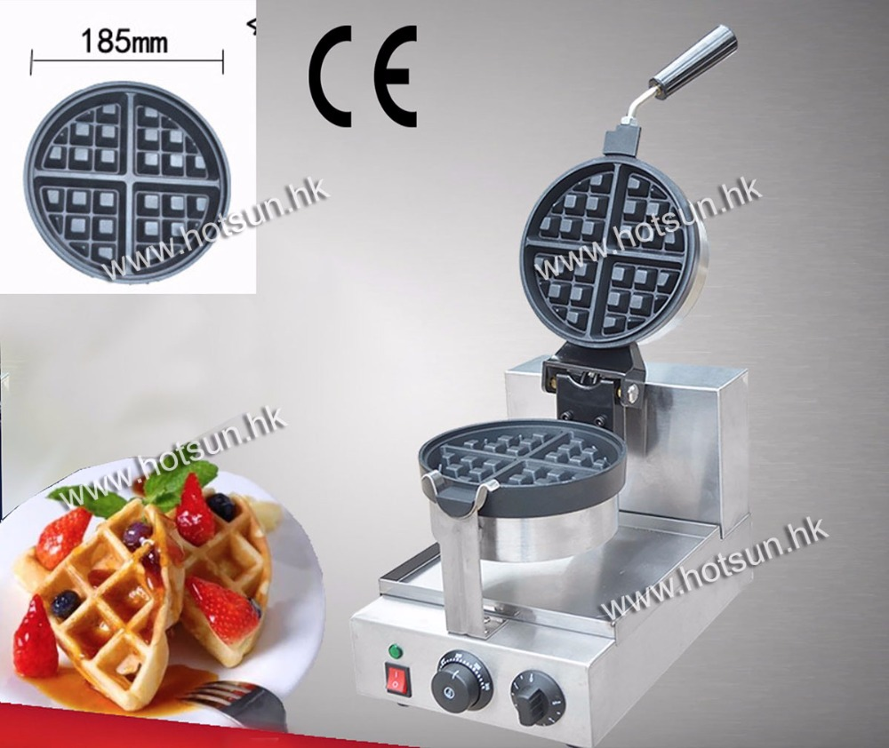 18.5cm Commercial Use Non-stick 110v 220v Electric Rotated Waffle Baker Maker Machine Iron with Drip Tray