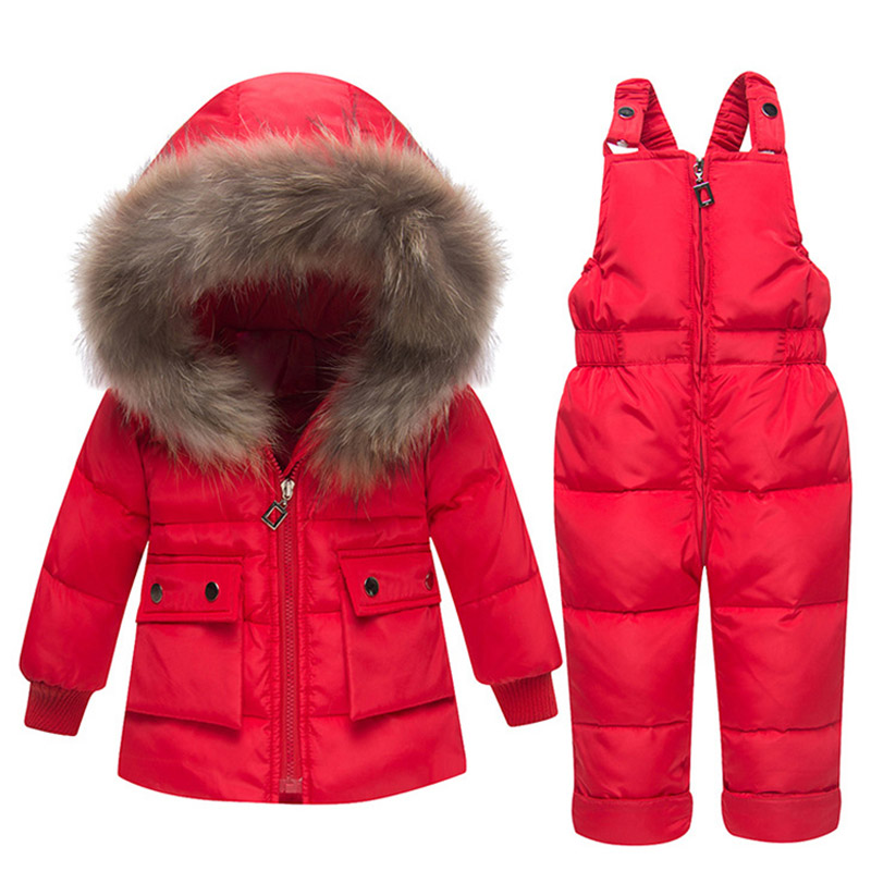 Winter Warm Baby Girls Down Jackets Baby boy's Snowsuit Ski suit Children's Clothing Sets Down Outerwear Coat+trousers -30degree все цены