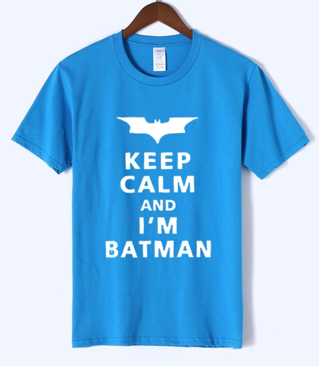 Hot new Garment Funny Cartoon Batman T Shirts Men Keep Calm I Am Batman 100% Cotton High Quality Tshirts