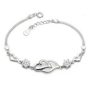 Double Heart Bracelet Korean Version Of The Fashion S925 Sterling Silver Wholesale Factory Outlets