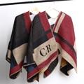 Brand Women Blanket Poncho Prorsum Cashmere Poncho Wool Scarf elegant manta lana initials Olivia Palermo Plaid Wool Winter Shawl