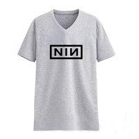 Metal Music Nine Inch Nails Male V Neck Grey T Shirt Mans Tshirt Men Tee Hip