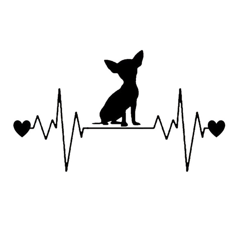 20.3*11.7CM Chihuahua Dog Heartbeat Lifeline Car Stickers Cute Vinyl Decal Car Styling Truck Decoration Black/Silver S1-0763