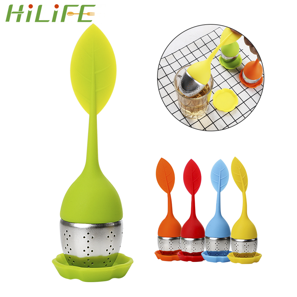 HILIFE High Temperature Resistance Tea Strainers  Teaware Reuseable Silicone Cute Leaf Tea Infusers