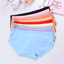 Womens Seamless Ice Silk Underwear 8 Colors Optional Ladies Sexy Solid Color Low Waist