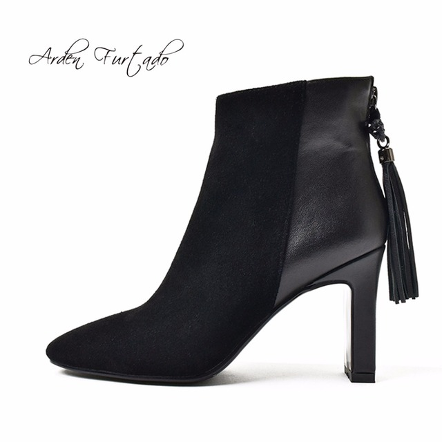 Arden Furtado 2017 autumn winter genuine leather high heels fringe women  fashion ankle boots shoes for woman square toe boots b1043bcfbaaf