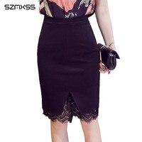 S 5XL Plus Size Slim Office Women Skirt 2017 Summer High Waist Lace Solid Work Feminine