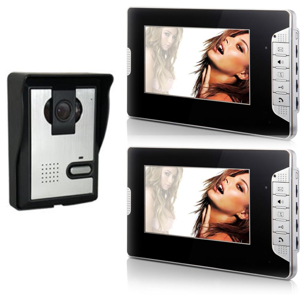 Yobang Security Video Intercom 7 Inch Monitor Wired Video Doorbell Visual Door Phone Speakephone Intercom Camera Security System