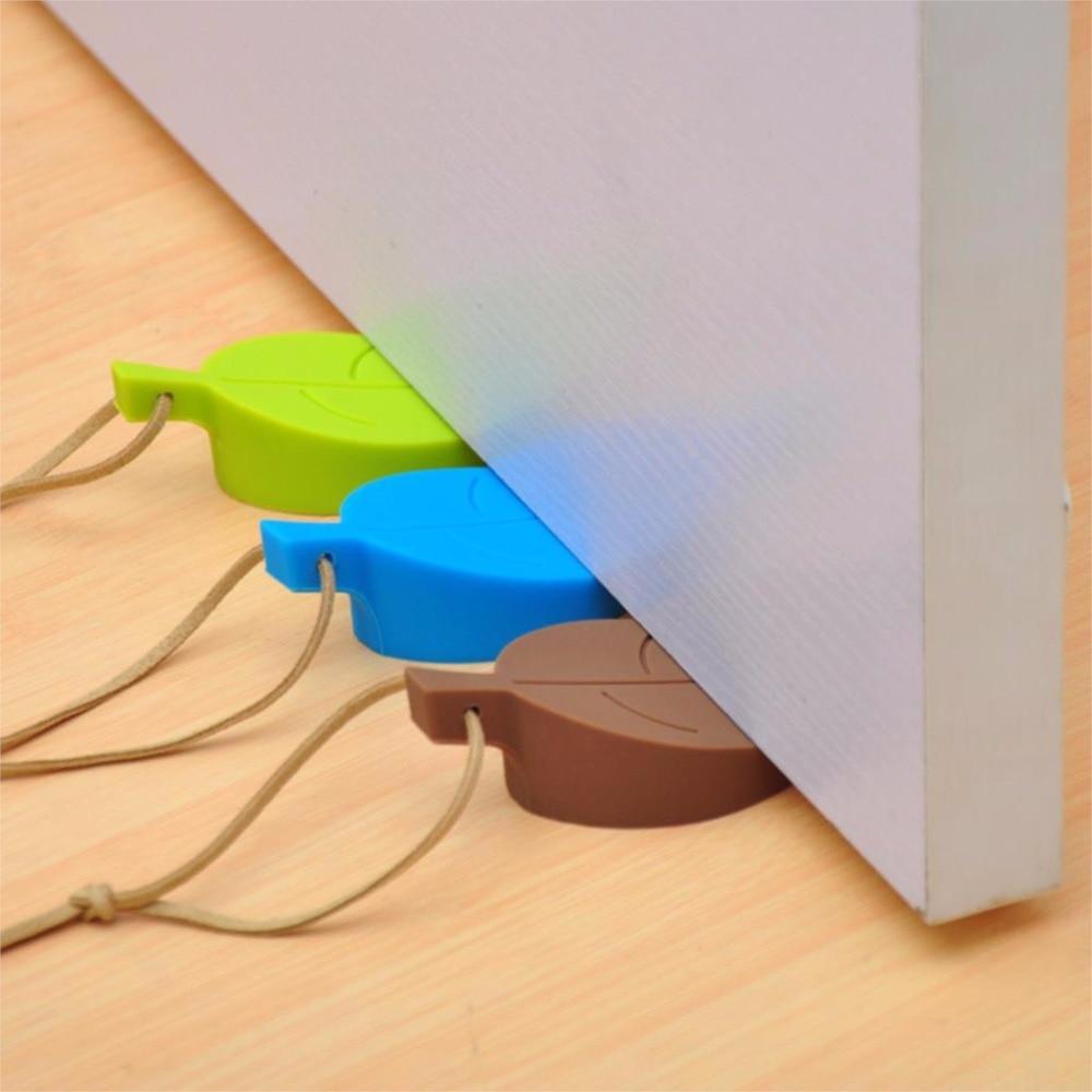 Children's 4 Color Cartoon Leaf Door Stopper Anti Hand Device Safety Supplies Food Grade Silica Gel Door Safety Door Card