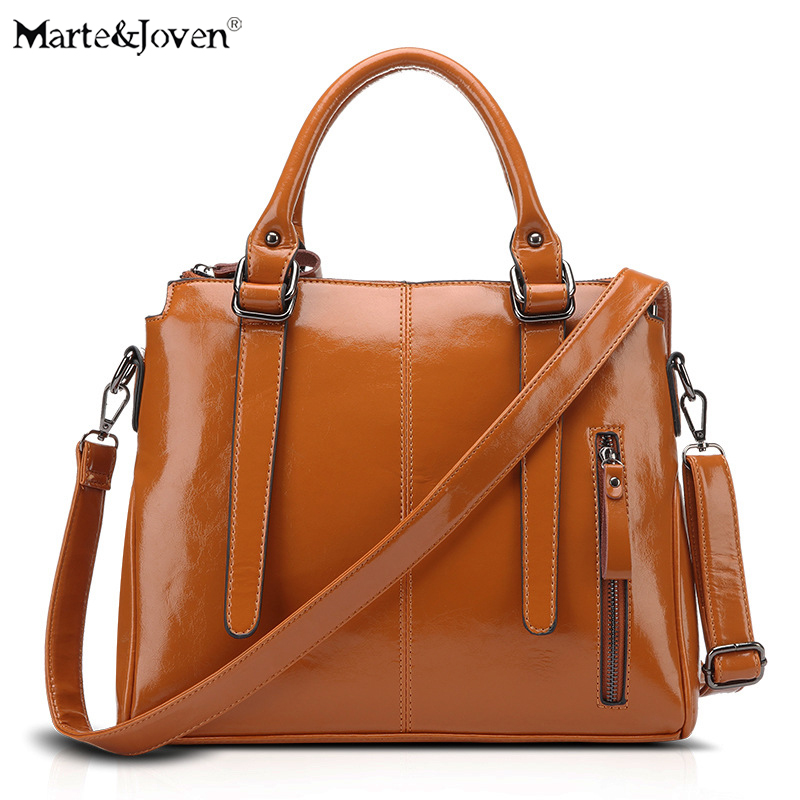 Marte&Joven European Style PU Totes Women Brown Messenger Bag Shoulder Bags Fashion Oil Wax Leather  Casual Handbags for Ladies dtbg pu leather women handbag fashion european and american style totes messenger bag original design briefcase zipper 2017
