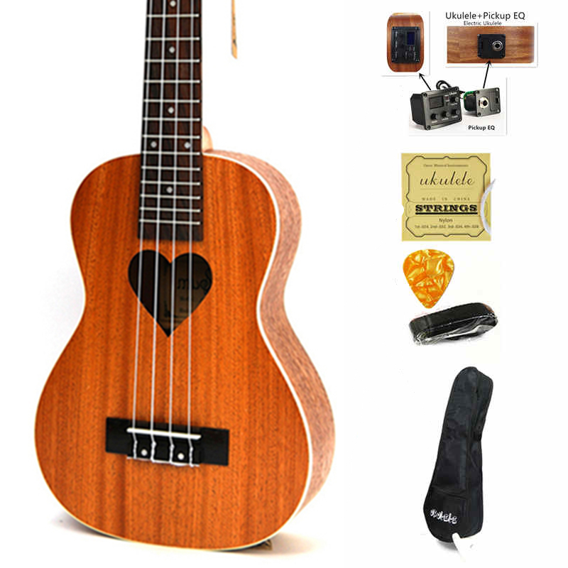 21 Inch Ukelele Soprano Small Guitar 4 String Hawaii Electric Ukulele Acoustic Guitare Loving Heart Pattern Cavaquinho Gitar