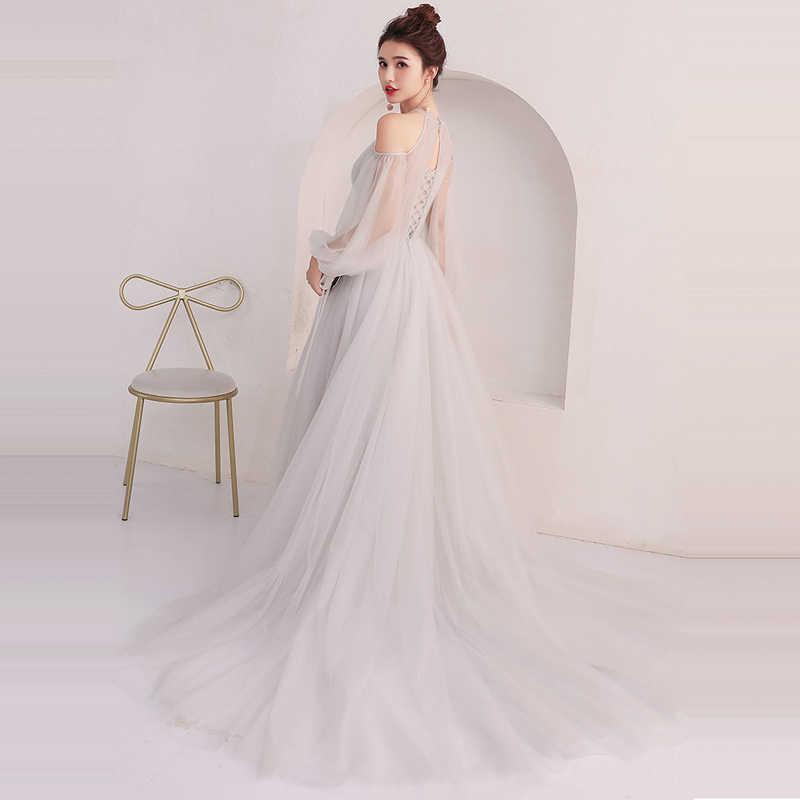 Вечернее платье с длинным рукавом It's YiiYa, летнее серое платье до пола из тюля, модные праздничные платья разных цветов, LX916