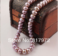 Handmade Purple real pearl Bead 45cm length Natural pearl AAA 9-10mm highlight Fashion pearl necklaces gift for women Jewelry