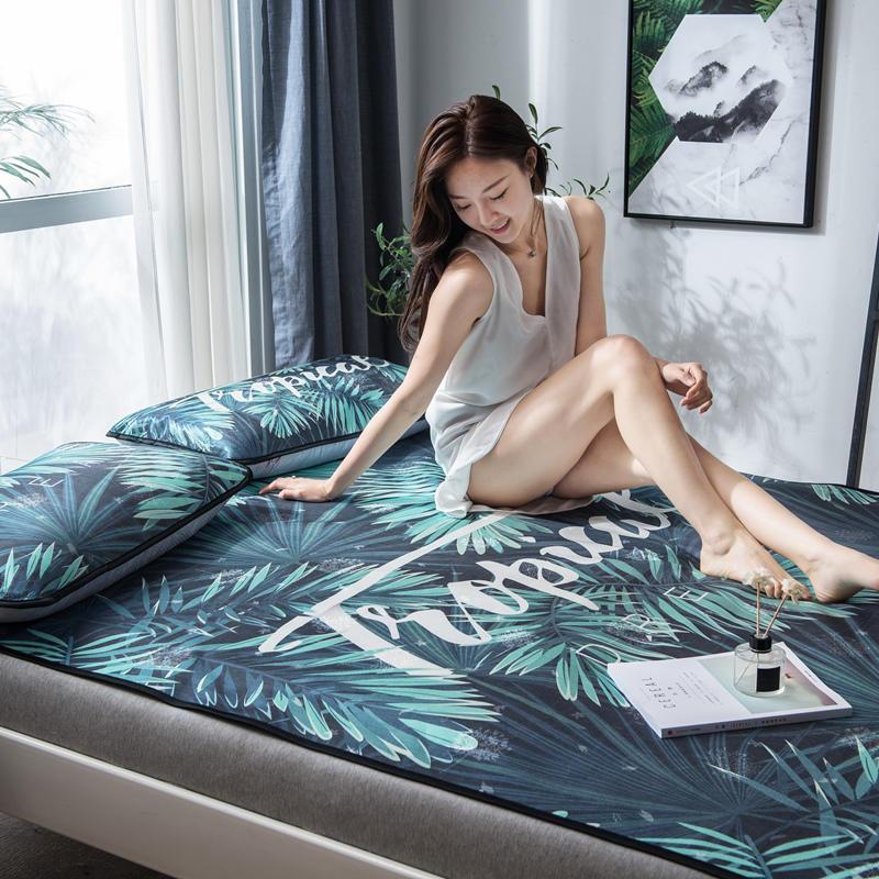 Summer Ice Cool Mat Bedding Set Brief Leaves Pattern 3pcs Flat Bed Sheet Pillowcase Set Comfortable