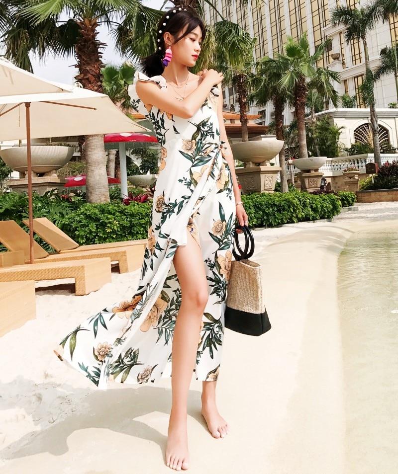 2018 Summer Women Sleeveless Tropical Print Maxi Dresses Boho Casual Belt Up Tunic Draped lolday beach casual long Dress